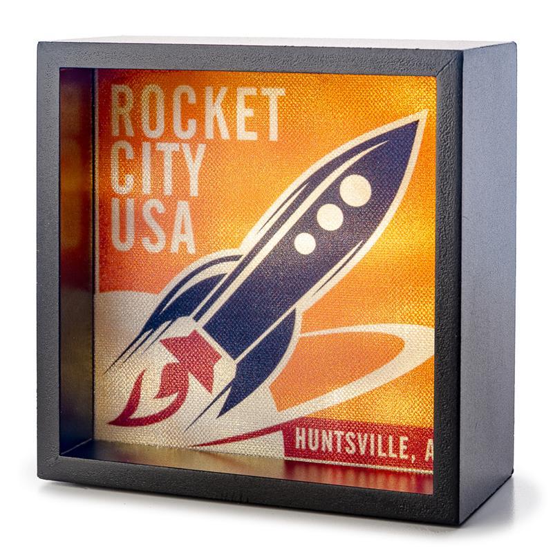 Orange Vintage Rocket City Light Box,ROCKET CENTER,LBX-BK-26603