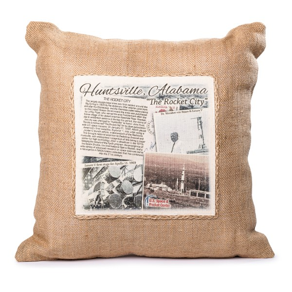 Square Jute Pillow,ROCKET CITY USA,HCUSH-0290