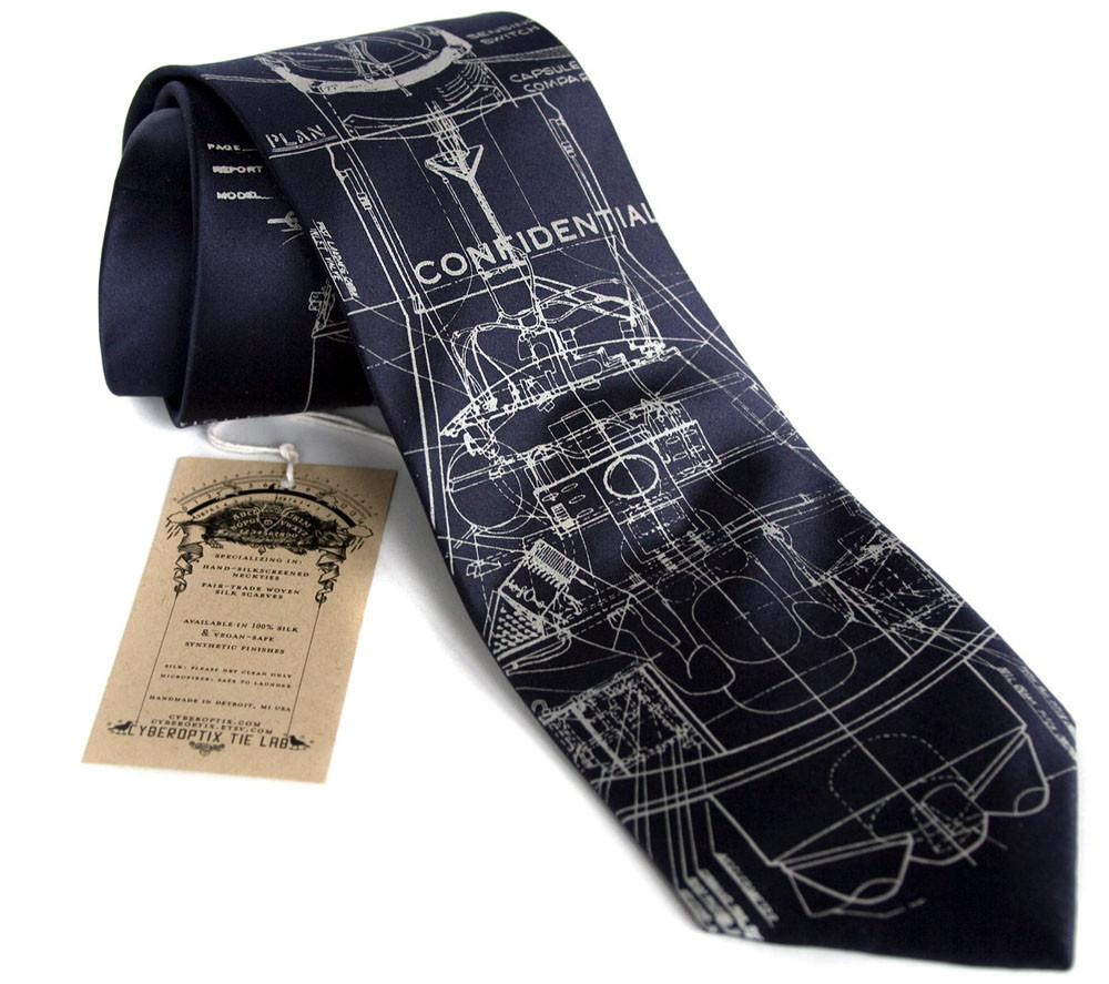 Project Mercury Rocket Silk Necktie