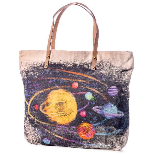 Watercolor Planet Leather Strap Tote