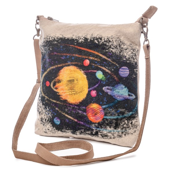 Watercolor Planet Leather Strap Crossbody