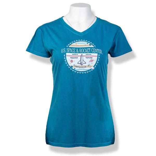Pastel Shuttle Ladies Pigment Dyed V-Neck T-Shirt,S16834/203A