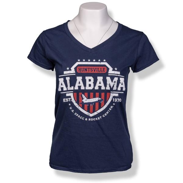 Americana Shield Ladies V-Neck T-Shirt,ROCKET CENTER,S131754/39995/64V00L