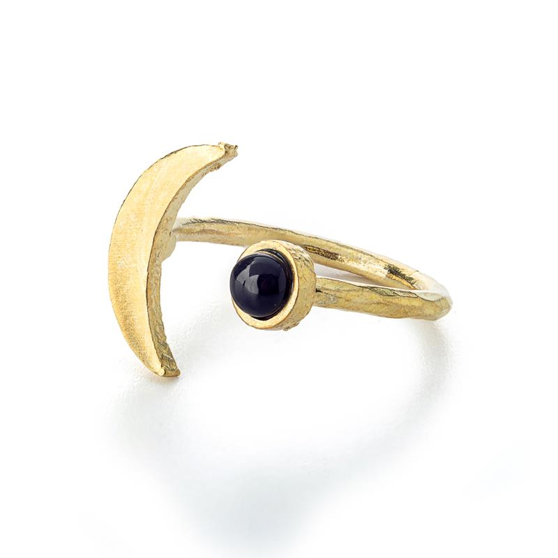 Crescent Moon Ring w/ Onyx,CRESRINGONYX