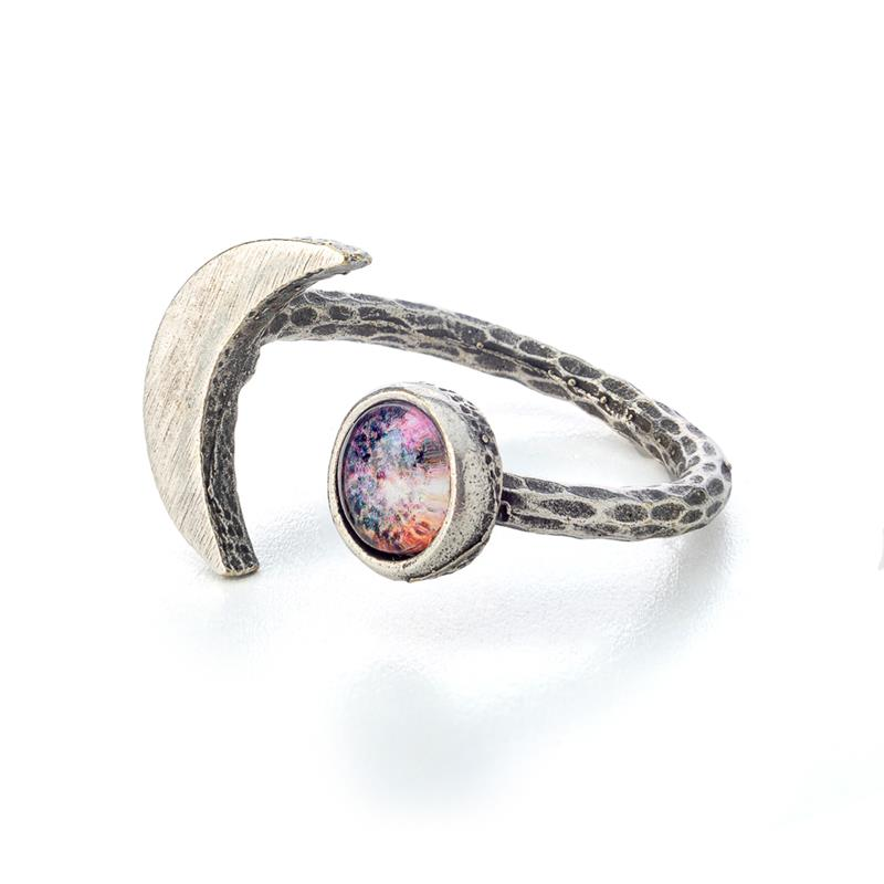 Crescent Moon Galaxy Ring - Antique Silver,CRESRING